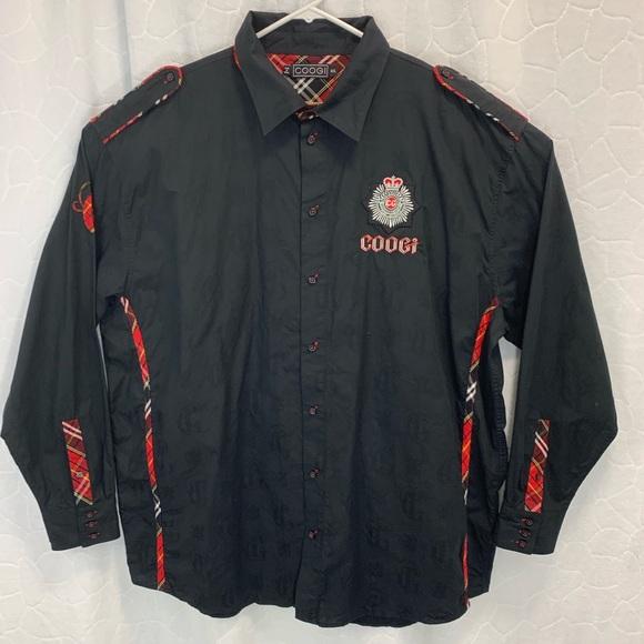 e63752c8 COOGI Shirts | Black Button Down With Red Details 4xl | Poshmark